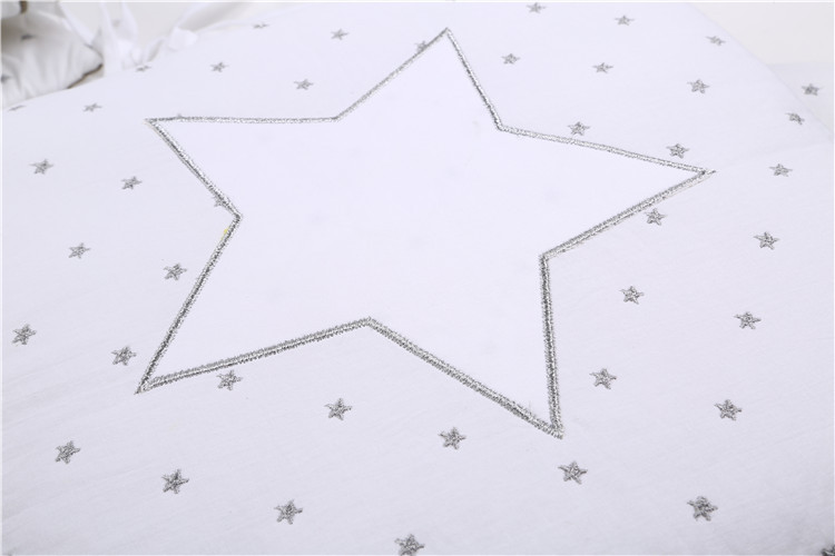 6 -15Pcs/Lot Squqre Cot Bumpers with crib sheets, Grey Star infant crib bumpers bed protecter