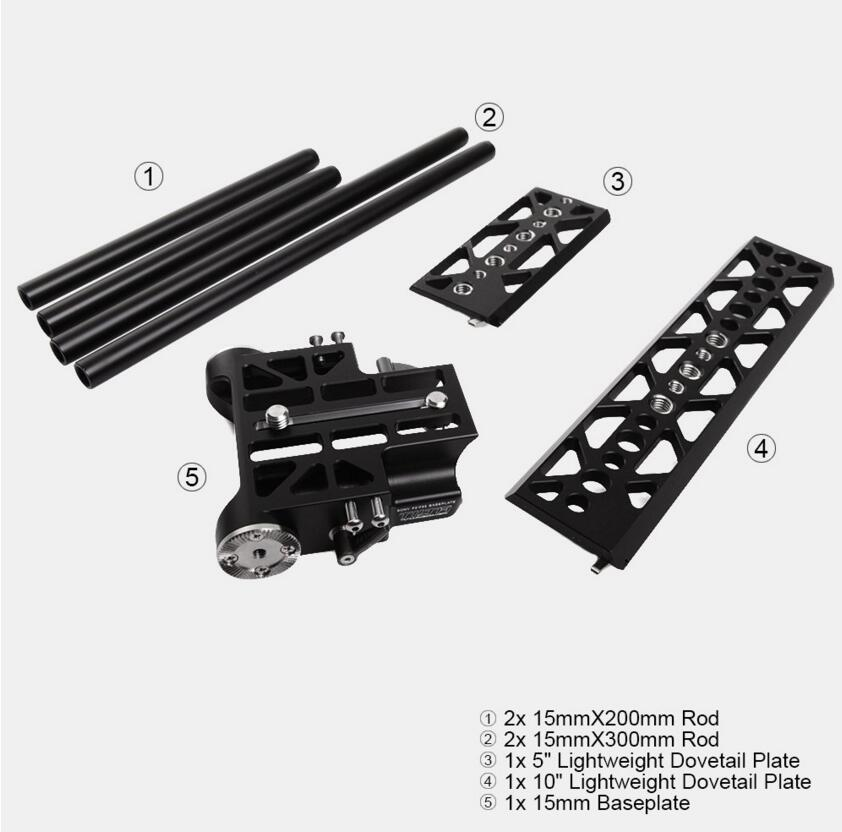 Tilta BS-T09 15mm LSW Baseplate+LSW Dovetail Plate for Sony F5/F55