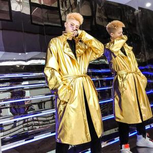 Gabardina para hombre abrigo de moda para hombre abrigo metálico brillante ropa holgado manga larga nuevo diseñador cantante escenario dorado plata