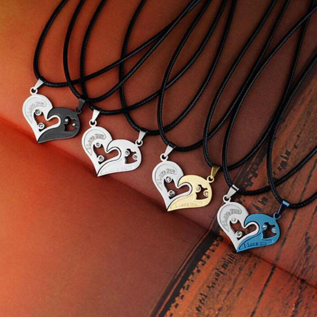 Fashion 1 Pair Women Men Hot I Love You Heart Shape Pendant Necklace For Lovers