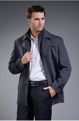 New Winter Man Of Leisure Business Suit Collar Trench Coat Wool Coat