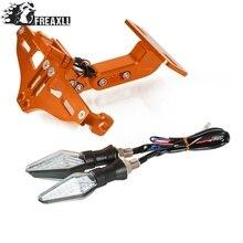 Motorcycle License Plate Bracket Holder With LED Light Universal For KTM DUKE 125 200 390 690 Duke RC 200 390 1190 AdventuRe/R цена и фото