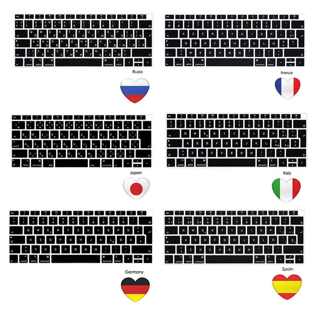 European Version For Macbook Air 13 A1932 Notebook Keyboard Cover Laptop Keyboard French German Spanish Italian Japanese EU