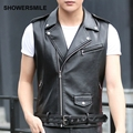 Motorcycle Leather Vest Men Hip-Hop Punk Rock Stage Costumes For Singers Brown Leather Waistcoat Latest Designs Male Gilet Homme
