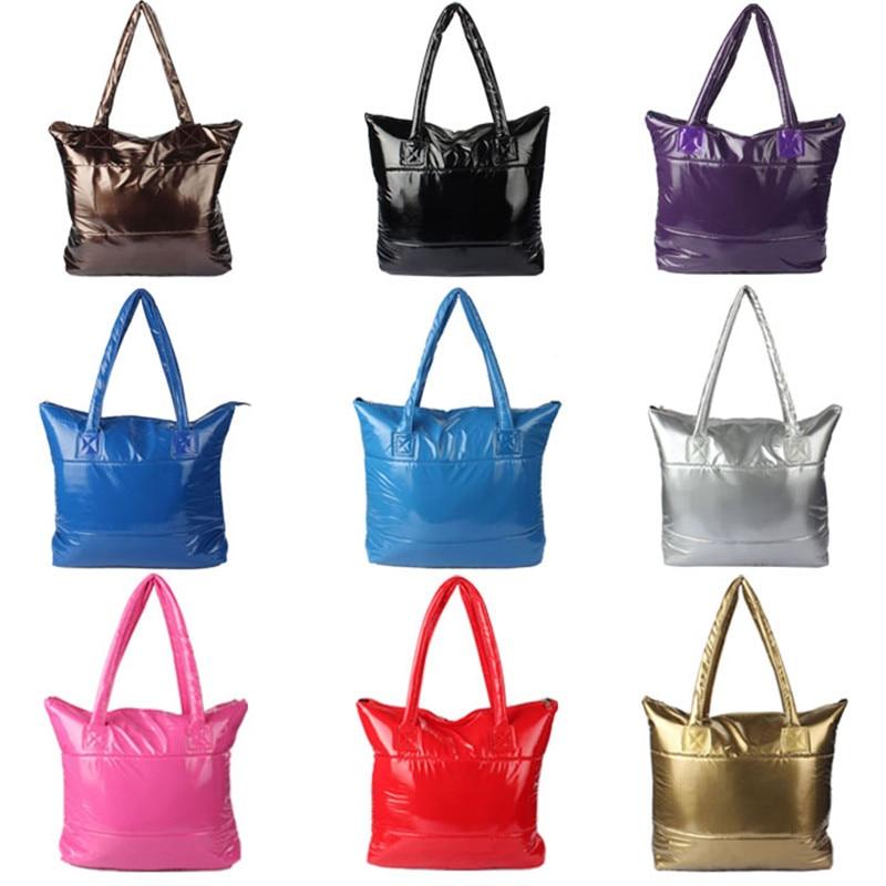 Women Girl Space Bale Zipper Cotton Totes Handbag Feather Down Shoulder Leisure Versatile Bag A# dropship