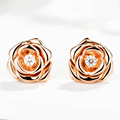 Unique EDI Flower Solitaire Moissanite (D-F ) 9k Rose Gold Lab Grown Diamond Stud Wedding Screw Back Earrings Lover Jewelry