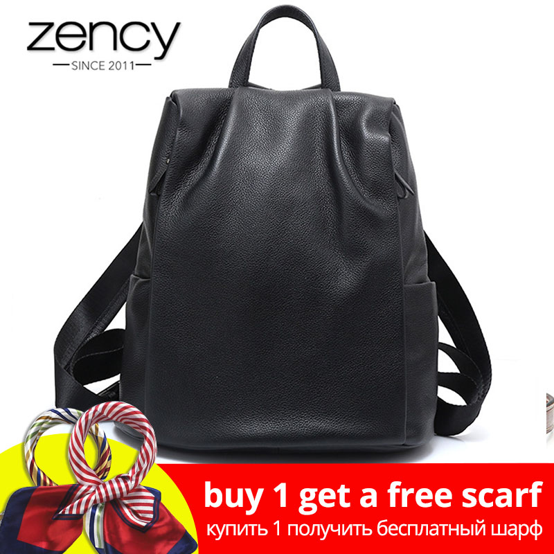 Zency Neue Schwarz Frauen Rucksack 100% Echtem Leder Praktische Reisetasche Große Schul Für Mädchen Mode Weibliche Rucksack Laptop