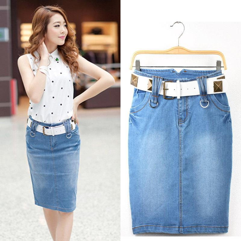 Popular Plus Size Long Denim Skirt-Buy Cheap Plus Size Long Denim ...