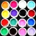 2014 2018 16 Unids la Mezcla del Color Sólido Puro de Uñas de Arte UV Gel de construcción Set de Acrílico Falsas Consejos