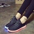 Унисекс Led Обувь мужчины Твердые 2016 Новая Мода Schoenen Повседневная Chaussures Lumineuse Light Up Обувь белый черный квартиры обувь ww80