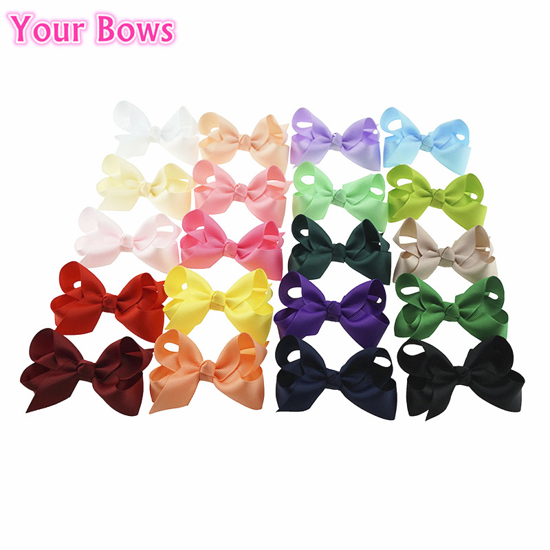 (20Pcs/lot) Grosgrain Ribbon Hair Bows Baby Girls Hair Clips 3 inches 20 Colors Baby Bows For Girls Hair Accessories
