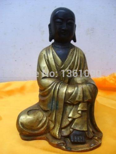 Xd 00558 Tibétain Bouddhiste bronze Bouddhiste arhat moine bouddha statue
