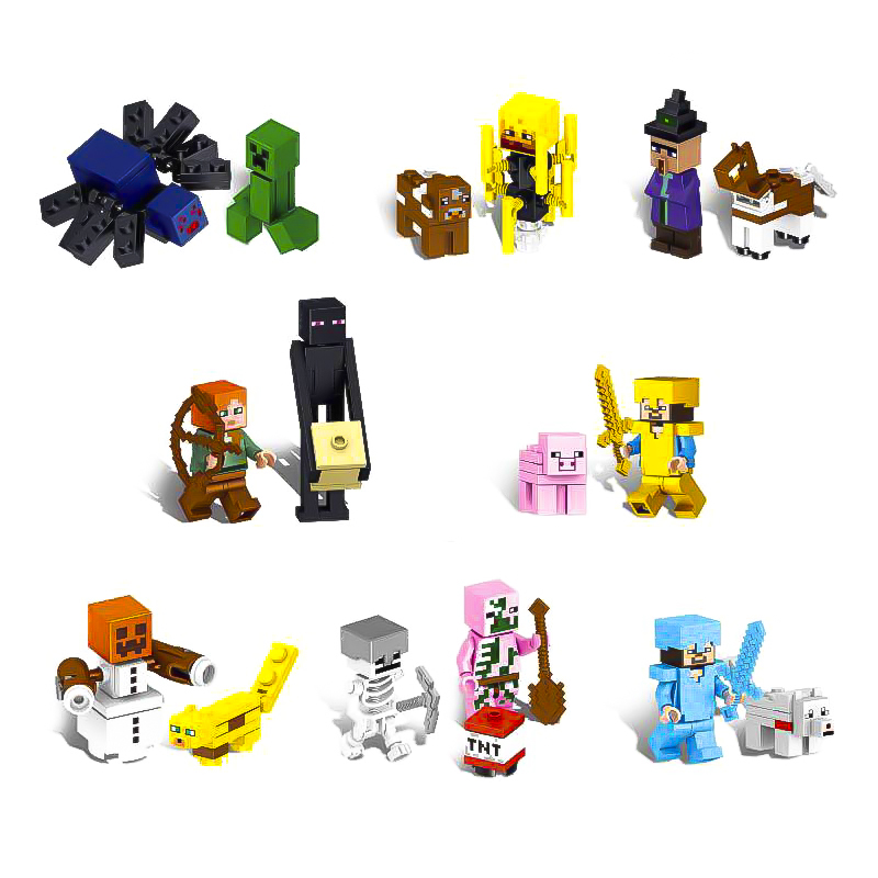 Minecrafted Action Figures Set Steve Zombie Alex Reuben Villager Weapon Brick Lot My World Compatible With LegoINGlys Blocks Toy ...