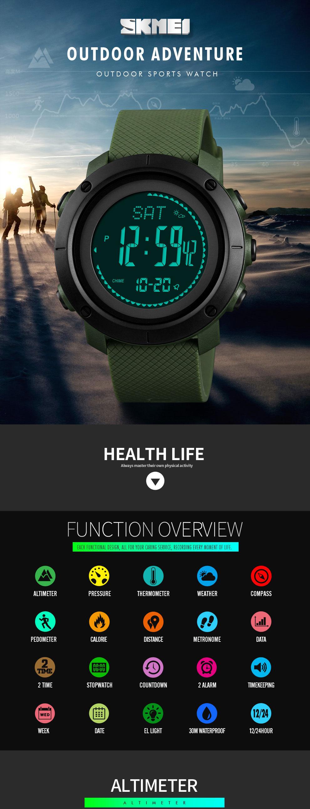 SKMEI Altimeter Barometer Thermometer Altitude Men Digital Watches Sports Clock Climbing Hiking Wristwatch Montre Homme 1418 7