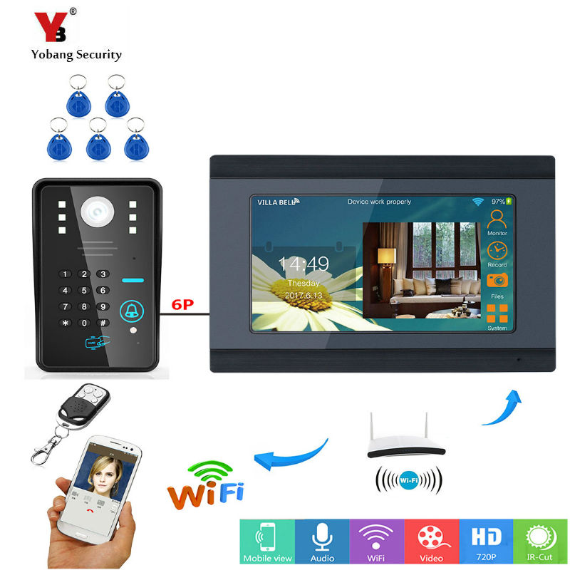 Yobang Security 7inch Wired/Wireless Wifi RFID Password Video Door Phone Doorbell Intercom Entry System with Support Remote APP