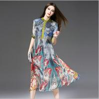 2018 100 Real Silk Long Dress Women Spring Vintage Print Loose Dresses Fashion Half Sleeves Europe