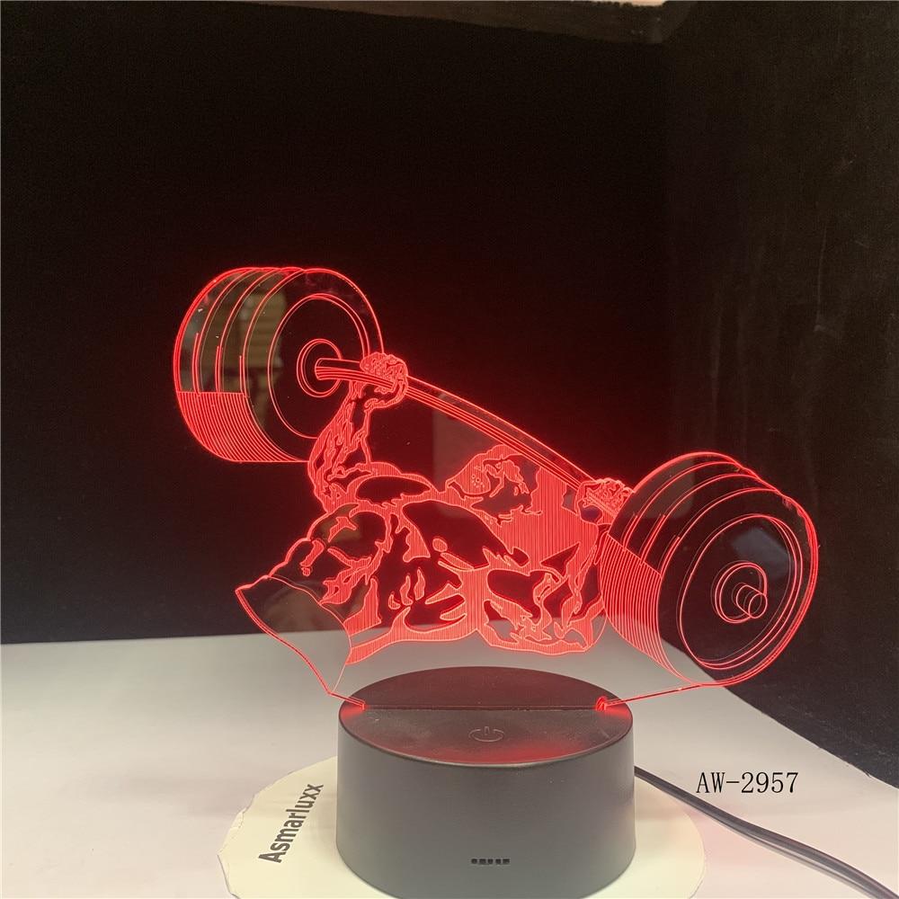 Weight Lifting 3D Night Light 7 Color Changing Acrylic USB Novelty Visual Desk Lamp Home Decor Sleep Lighting Gym Gifts AW-2957