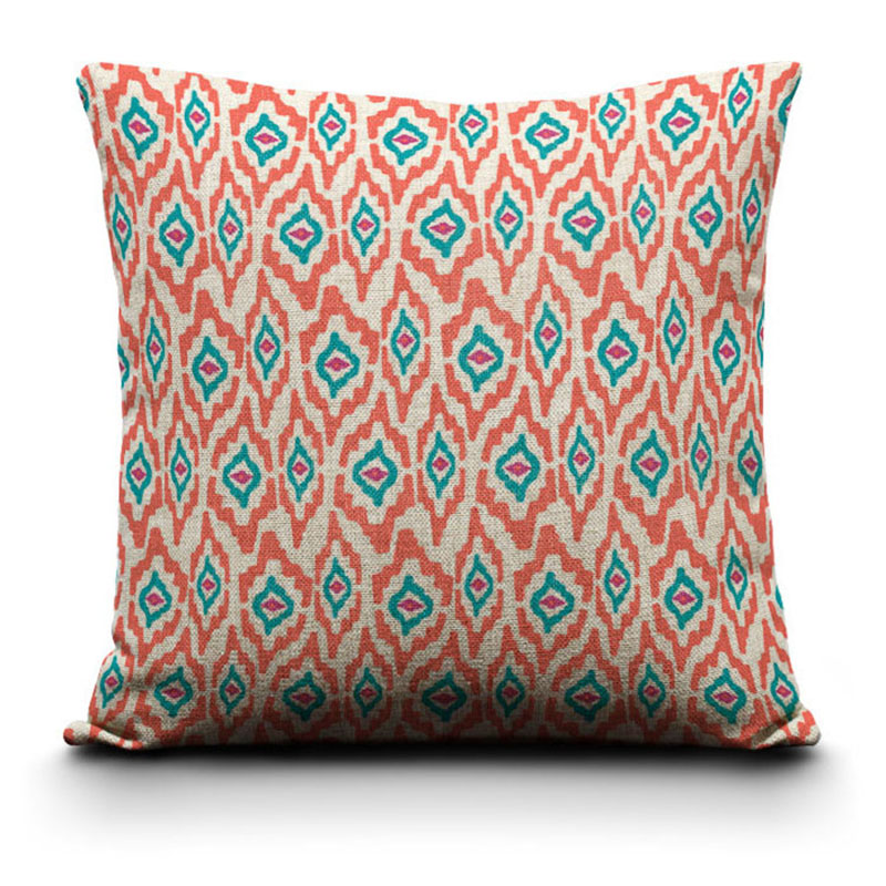 New Linen Pillows Orange Blue Eyes Cheap Square sofa Cushion Cover