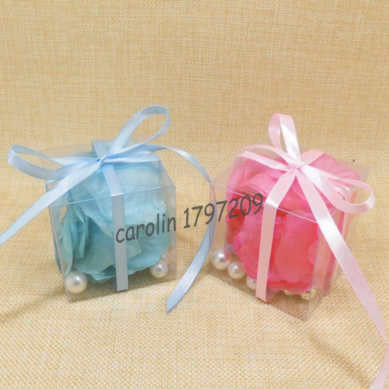 20pcs Clear Pvc 666cm Candy Box With Ribbon Wedding Favor Boxes
