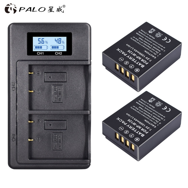 2 piezas 1200 mAh NP W126 NP W126 NPW126 baterías + LCD cargador Dual para Fujifilm Fuji X Pro1 XPro1 X T1 XT1 ¡HS30EXR HS33EXR X PRO1