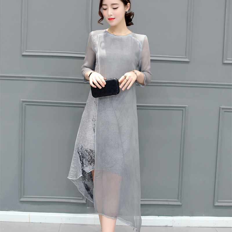 e9252b335 As mulheres Se Vestem de Cor Cinza O Pescoço Plus Size Mulheres 4XL Roupas  Vintage Vestido de Manga Longa de Impressão Floral Chiffon Vestido de Verão  em ...