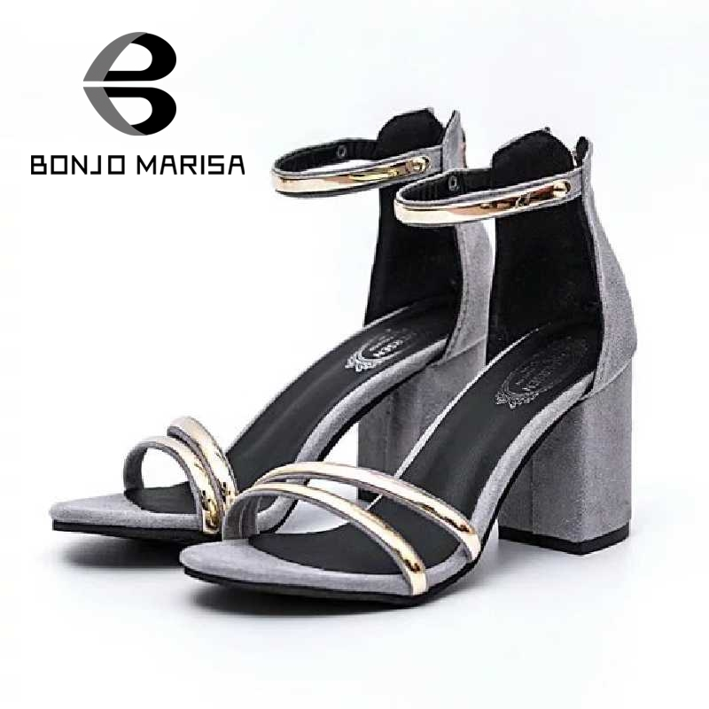 ФОТО BONJOMARISA Ankle Belt Strap Summer Shoes For Woman Vintage Square High Heels Open Toe Less Platform Sandals Sandalias Femmine