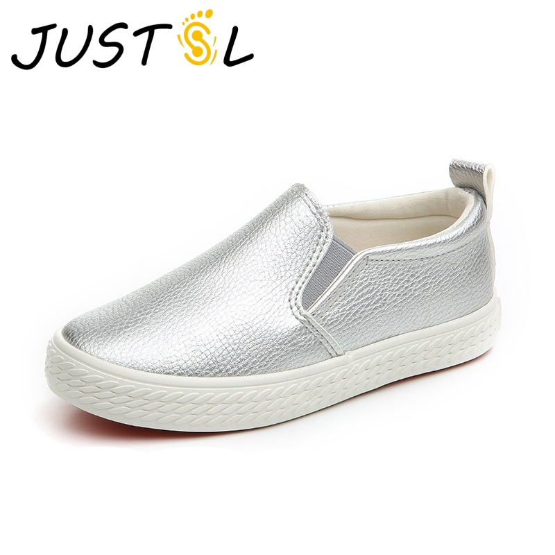 JUSTSL Spring Children 's fashion sneakers kids leather PU flat shoes teenage casual shoes for boys girls size 25-37