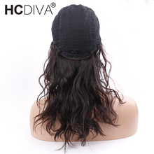 Lace Frontal Human Hair Wigs Natural Wave Black For Woman Indian Non-Remy 18 inch Lace Frontal Wigs HCDIVA Hair