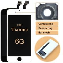 10 pçs para iphone 6 lcd de qualidade superior para tianma display lcd 4.7 polegada tela toque digitador assembléia + anel da câmera com presentes