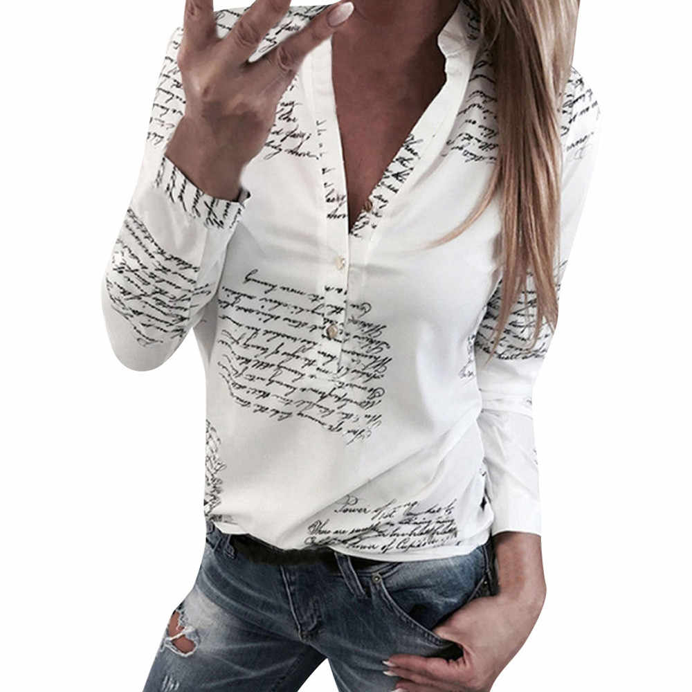 office blouse women Letters Printed Buttons Stand V Neck Sexy womens tops and blouses Long Sleeve Shirt Tops White Blouse L2