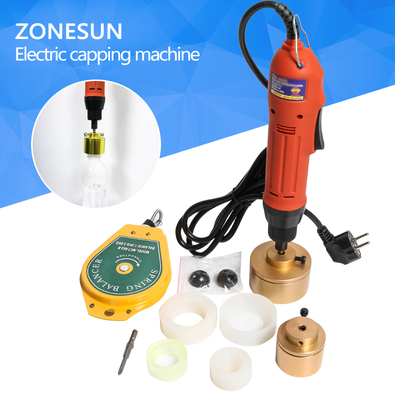 ZONESUN 28-32mm plastic bottle capper Portable automatic electric capping machine Cap screwing Machine electric sealing machine 2016 manual plastic bottle capping sealing machine handheld cap screwing machine 10 50mm free ship