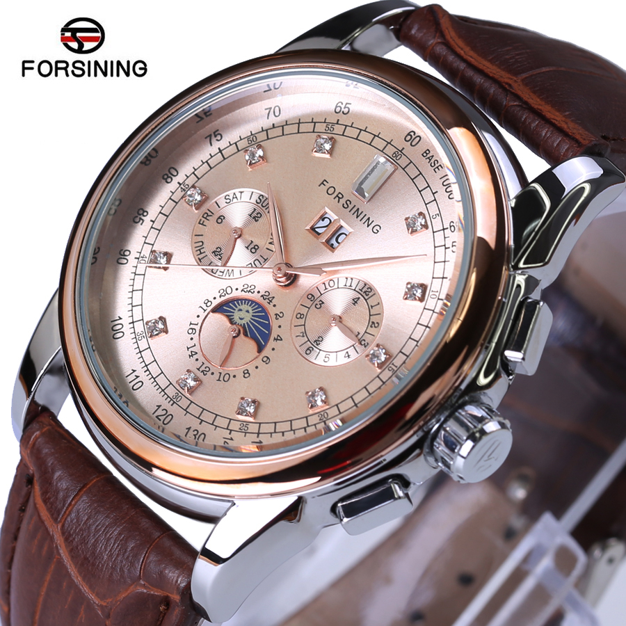 Automatic Watch FORSINING Top Luxury Brand Watch Rose gold Genuine Leather Straps Sport Mechanical Clock Waterproof Men Watches forsining classic series black genuine leather strap 3 dial 6 hands men watch top brand luxury automatic mechanical watch clock