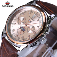 Automatic Watch FORSINING Top Luxury Brand Watch Rose Gold Genuine Leather Straps Sport Mechanical Clock Waterproof