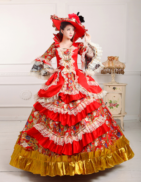 18th Century Rococo Style Marie Antoinette Inspired Long Dress Wedding Ball Gown