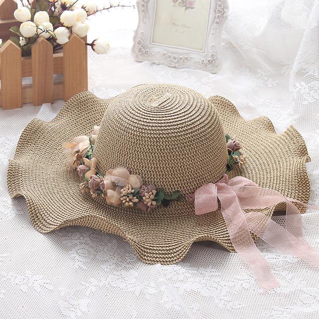 Corea del verano de las señoras sombrero junto con un gran Sombrero para el Sol Visera guirnalda onda recorrido al aire libre sombrero para el sol