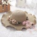 Senhoras verão coreano chapéu junto com uma guirlanda de onda de viagem ao ar livre grande Chapéu de Sol Viseira chapéu de sol