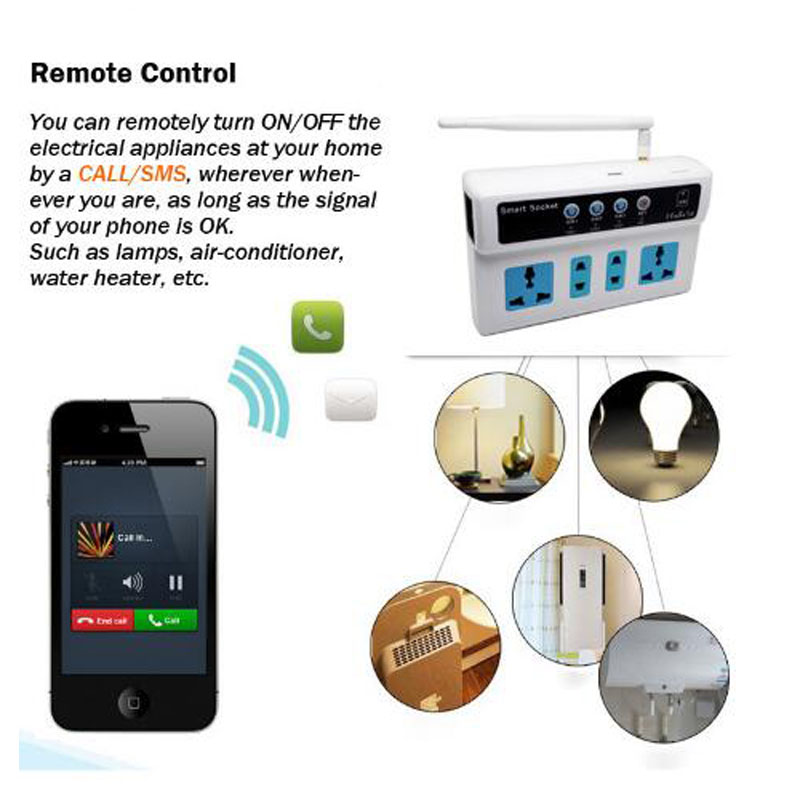 Access Control Accessories Back To Search Resultssecurity & Protection Romantic Gsm Sim Card Phone/call/sms Remote Control Universal Wireless Smart Extension Electrical Socket Outlet/4 Outlets/eu/us Plug