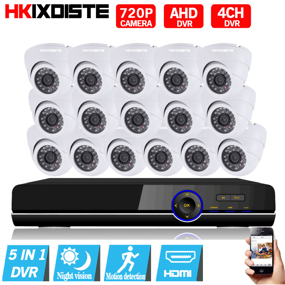 16CH 1MP HD AHD CCTV Camera 720P 24 Leds Day Night Video Indoor Security Camera System Home Surveillance 16ch 1080P AHD DVR Kits16CH 1MP HD AHD CCTV Camera 720P 24 Leds Day Night Video Indoor Security Camera System Home Surveillance 16ch 1080P AHD DVR Kits