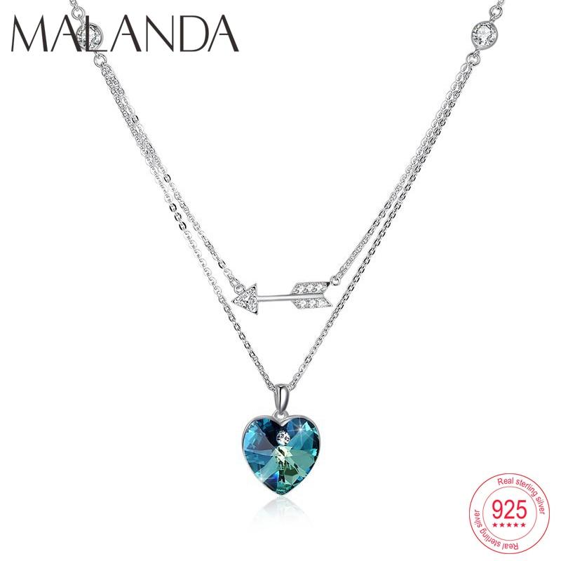 Malanda Heart Arrow Crystal From Swarovski Necklaces Pendants For Women Sterling Silver Double Chain Necklace Wedding Jewelry