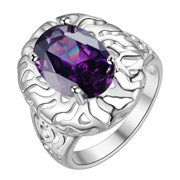 AR383 Hot Selling Silver Plated Rings for women & men silver fashion jewelry simple purple Bijouterie Zircon Stone image