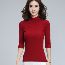 Women's Clothing Fashion Turtleneck Solid Pullover Sweaters High Elastic Slim Bottoming Knitted Sweaters Female Jumpers