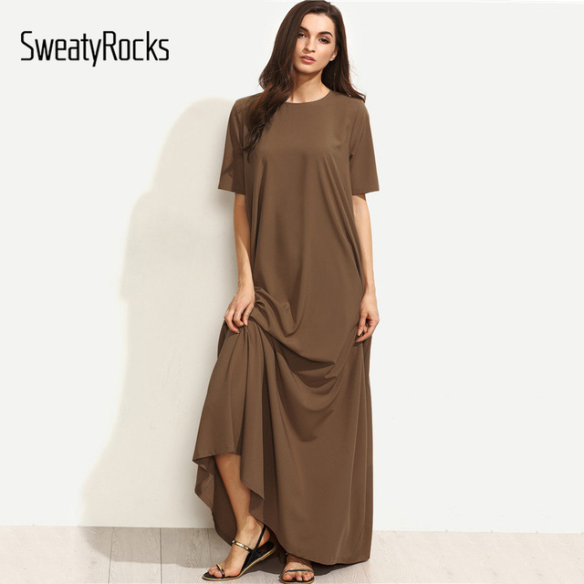 SweatyRocks Summer Casual Long Dresses For Woman Plain Brown Crew Neck Short Sleeve Zipper Back Loose Shift Maxi Dress