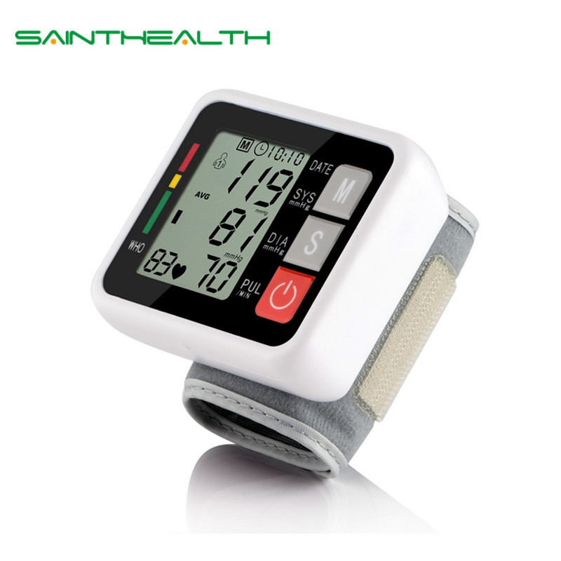 With English Voice wrist digital blood pressure monitor portable sphygmomanometer LCD display tonometer health diagnostic-tool