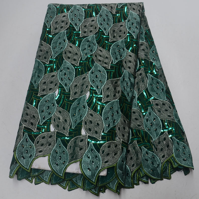 5yards pc High quality handcut African lace fabric soft green velvet lace fabric with sequins