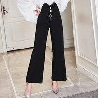 Women 2017 Spring Autumn Fashion Design High Waist Casual Wide Leg Pants Soild Color Black White