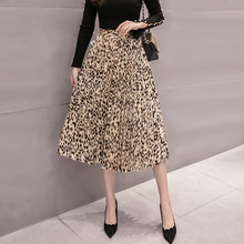 Long Leopard Skirts for Women 2018 Korean Fashion Autumn Winter High Waist Pleated Skirt Midi Ladies Leopard Print Skirts Satin недорого