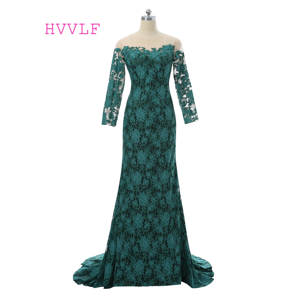 Green   Evening     Dresses   2019 Mermaid Long Sleeves See Through Lace Elegant Long   Evening   Gown Prom   Dress   Prom Gown Robe De Soire