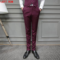 2017 Fashion Mens Grey Casual Pants Noniron Cotton Formal Dress Pants Male Regular Fit Luxury Business