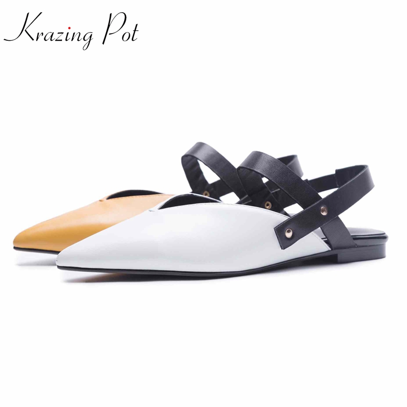 krazing pot 2018 pointed toe genuine leather metal rivets decoration sheep skin flats mixed color women casual driving shoes L35 krazing pot sheep suede rabbit fur superstar preppy style bowtie casual shoes pointed toe flats sweet women outside slippers l71