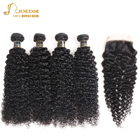 Joedir Brazilian Afro Kinky Curly Hair With Closure Human Hair Weave Bundles With Closure Lace Closure With Bundles Non Remy